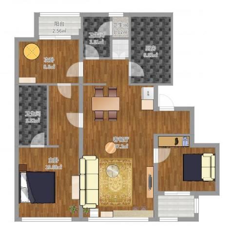 裕沁湖畔庭2室2厅3卫1厨126.00㎡户型图