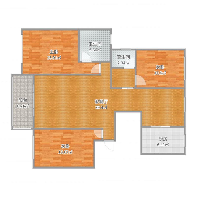 1#楼13-16层西2户型B户型_2017-08-16-1752户型图
