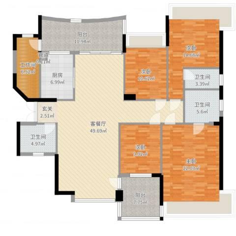 南湖半岛花园4室2厅3卫1厨193.00㎡户型图
