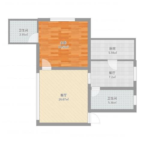 万富汇1室2厅2卫1厨67.00㎡户型图