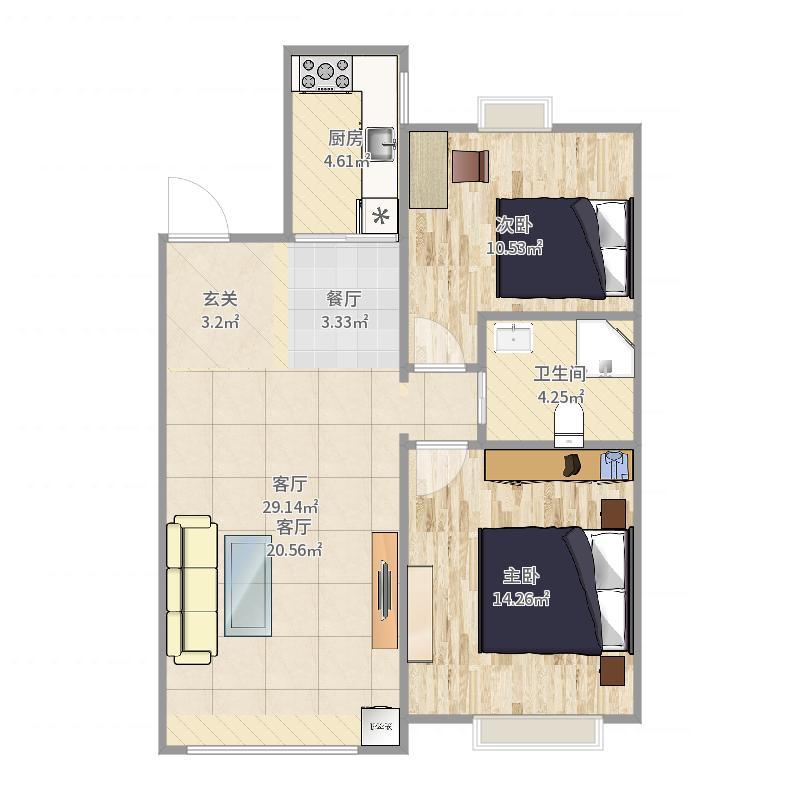 星座J95型89.3平两房两厅-副本户型图