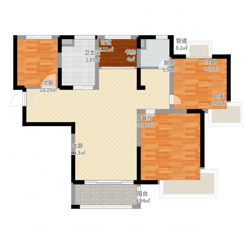万业湖墅金典107.00㎡三期24#标准层B户型4室4厅1卫1厨-副本-副本户型图