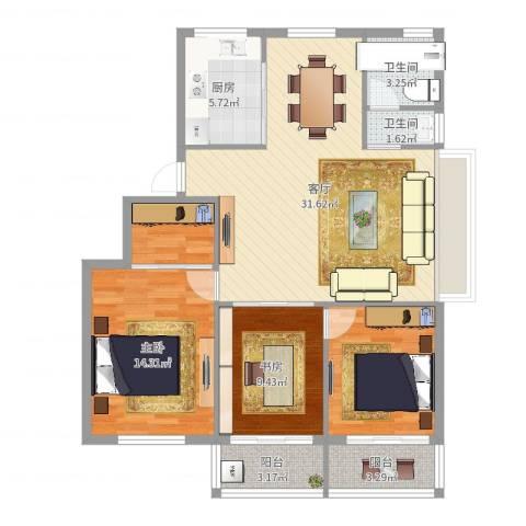 太阳公寓小区2室1厅2卫1厨107.00㎡户型图