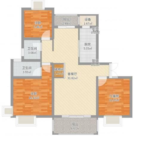 鹏欣一品漫城四期公寓3室2厅2卫1厨112.00㎡户型图