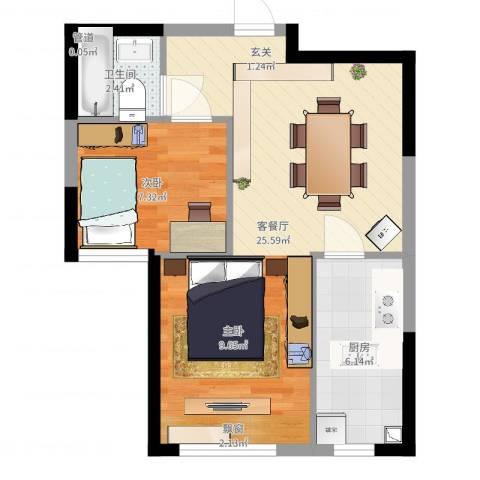 巴黎左岸1室2厅1卫1厨52.00㎡户型图