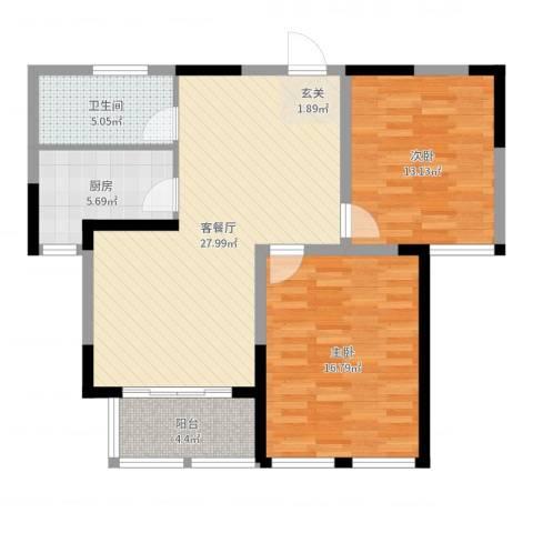 海棠花园2室2厅1卫1厨91.00㎡户型图