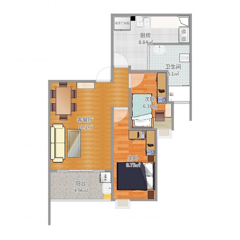 叠彩西城2室户型-改2户型图