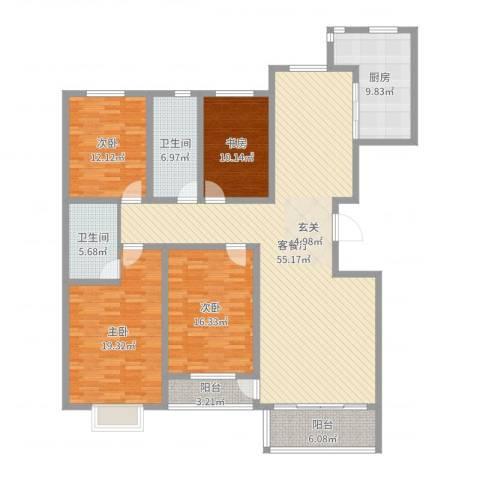 昭君花园4室2厅2卫1厨181.00㎡户型图
