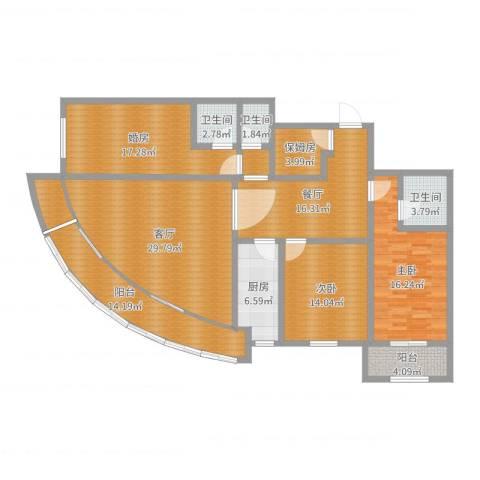 安慧北里逸园2室2厅3卫1厨165.00㎡户型图