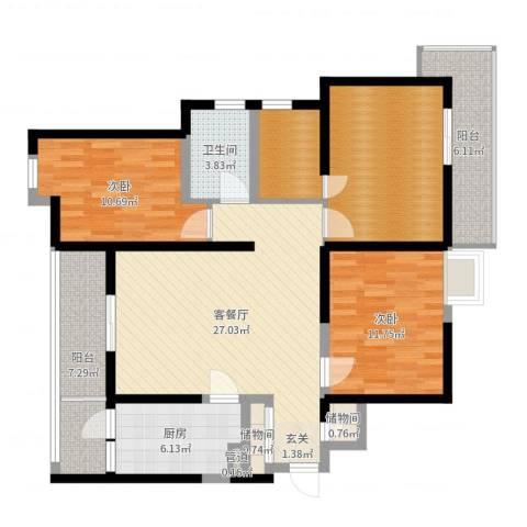东方雅居2室2厅1卫1厨114.00㎡户型图