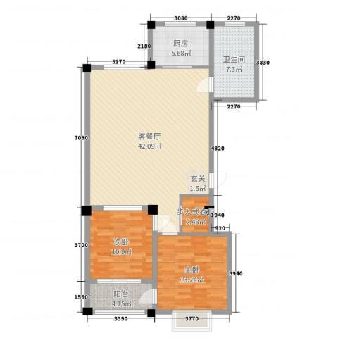 华府名城2室2厅1卫1厨107.00㎡户型图