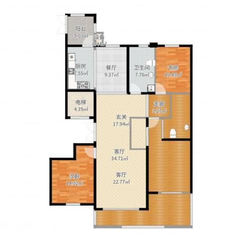 银河丽湾二期丽湾上品2室2厅1卫1厨172.00㎡户型图