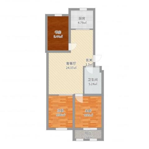 凤鸣郡和墅3室2厅1卫1厨81.00㎡户型图