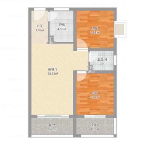 阳光小区2室2厅1卫1厨78.00㎡户型图