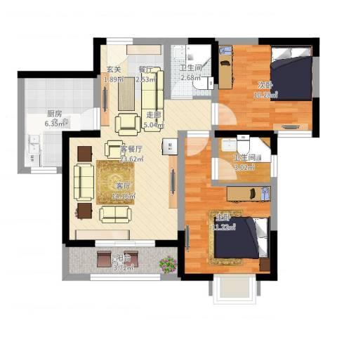 青秀家园2室2厅2卫1厨76.00㎡户型图