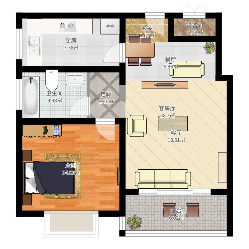 延虹公寓房型: 一房; 面积段: 70.68 -72.63 平方米; 户型-副本户型图