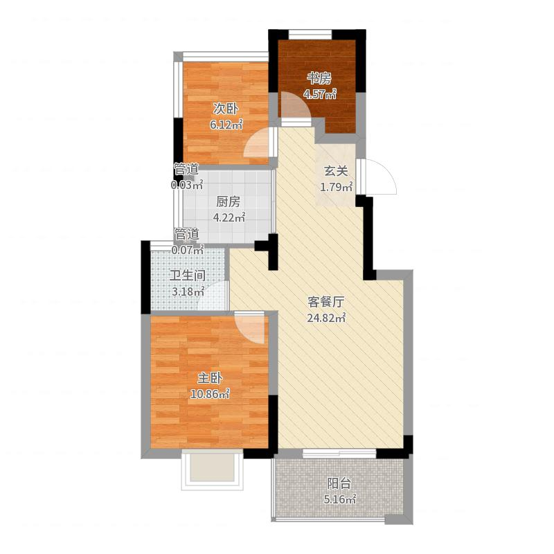金地格林格林项目85.00㎡一期标准层B平面图户型3室2厅1卫1厨户型图