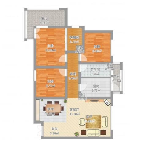 锦绣大地城一期3室2厅1卫1厨105.00㎡户型图