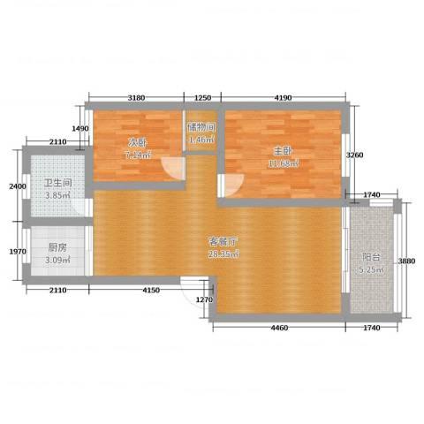 钱湖人家2室2厅1卫1厨76.00㎡户型图