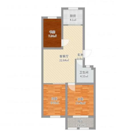 凤鸣郡和墅3室2厅1卫1厨79.00㎡户型图