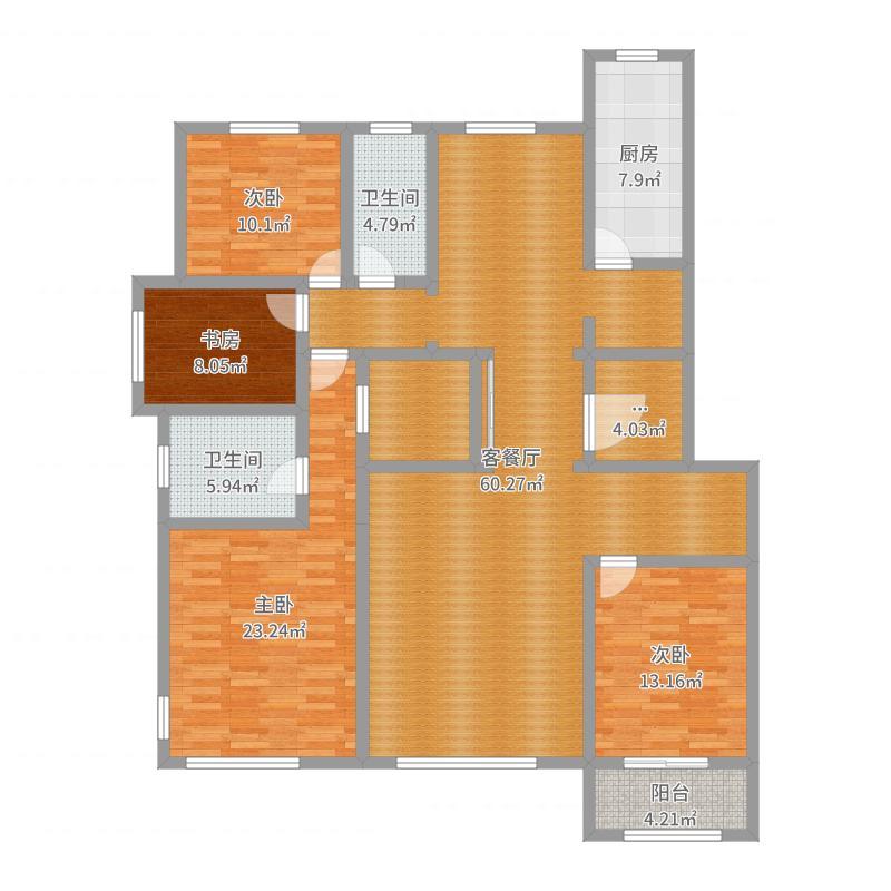 清都颐园四室一厅两卫户型图