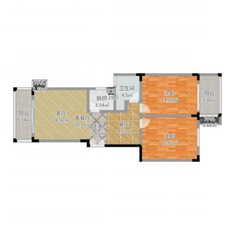 东南雅苑2室2厅1卫1厨101.00㎡户型图