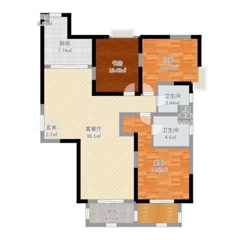 郦城国际3室2厅2卫1厨123.00㎡户型图