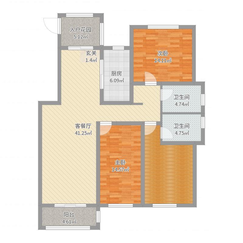 汇君城139.12㎡L7号楼标准层A户型3室3厅2卫1厨-副本户型图