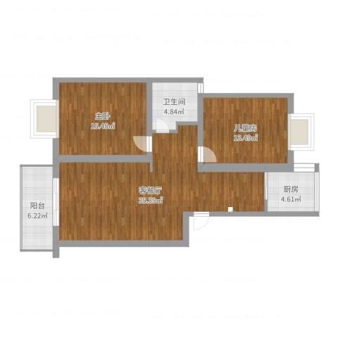 紫晶南园2室2厅1卫1厨100.00㎡户型图