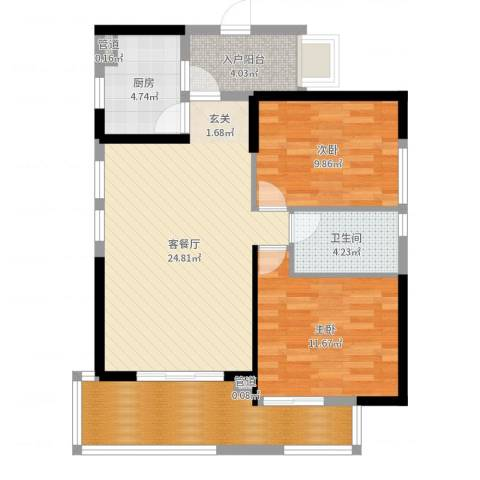 海投天湖城2室2厅1卫1厨87.00㎡户型图
