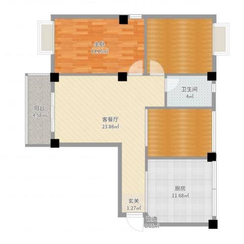 荣凯天阶1室2厅1卫1厨97.00㎡户型图
