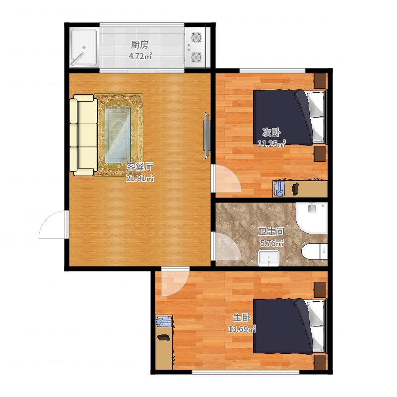 彩霞园2室1厅1卫户型图