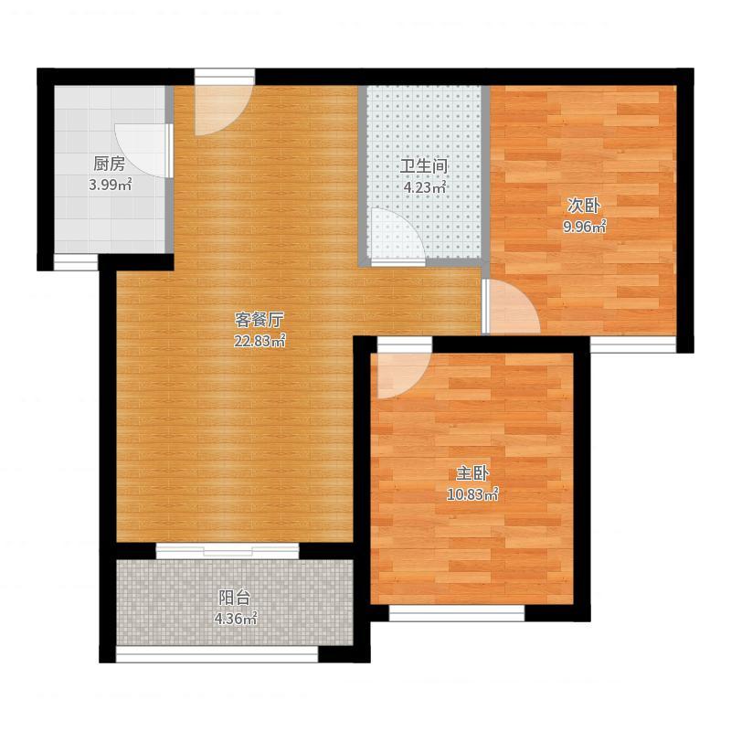 西溪诚园85.00㎡B1户型2室1厅1卫户型图