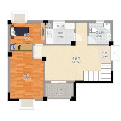 瑶海家园2室2厅1卫1厨79.00㎡户型图