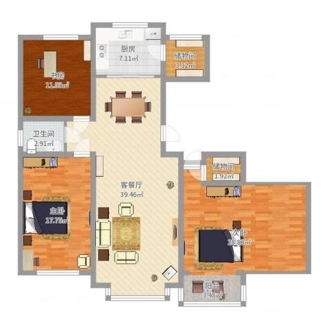 惠德花园3室2厅1卫1厨142.00㎡户型图