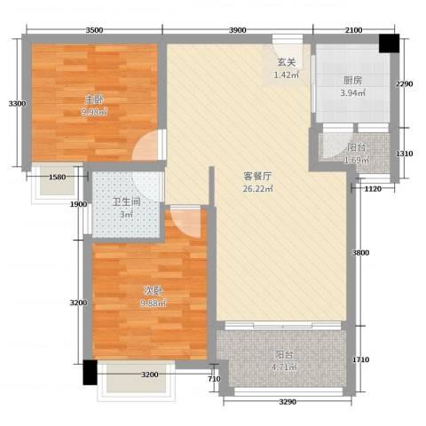 海雅君悦花园2室2厅1卫1厨87.00㎡户型图