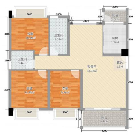 海雅君悦花园3室2厅2卫1厨128.00㎡户型图
