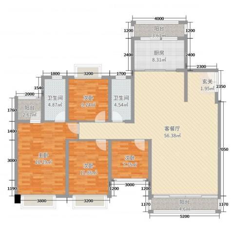 海雅君悦花园4室2厅2卫1厨185.00㎡户型图
