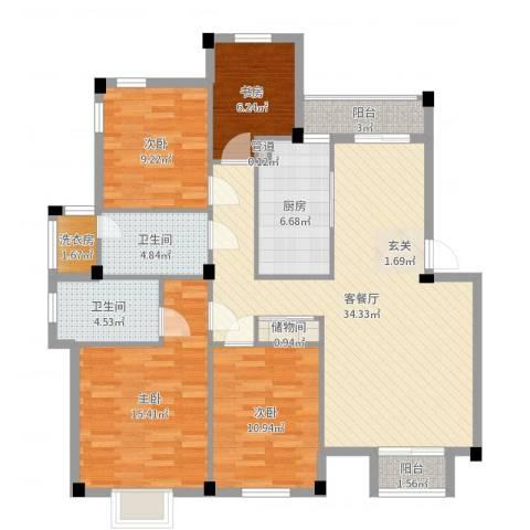 荷花家园4室2厅2卫1厨124.00㎡户型图