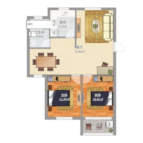 书香丽景2室1厅1卫1厨84.00㎡户型图