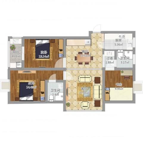 嘉业阳光城3室2厅2卫1厨108.00㎡户型图