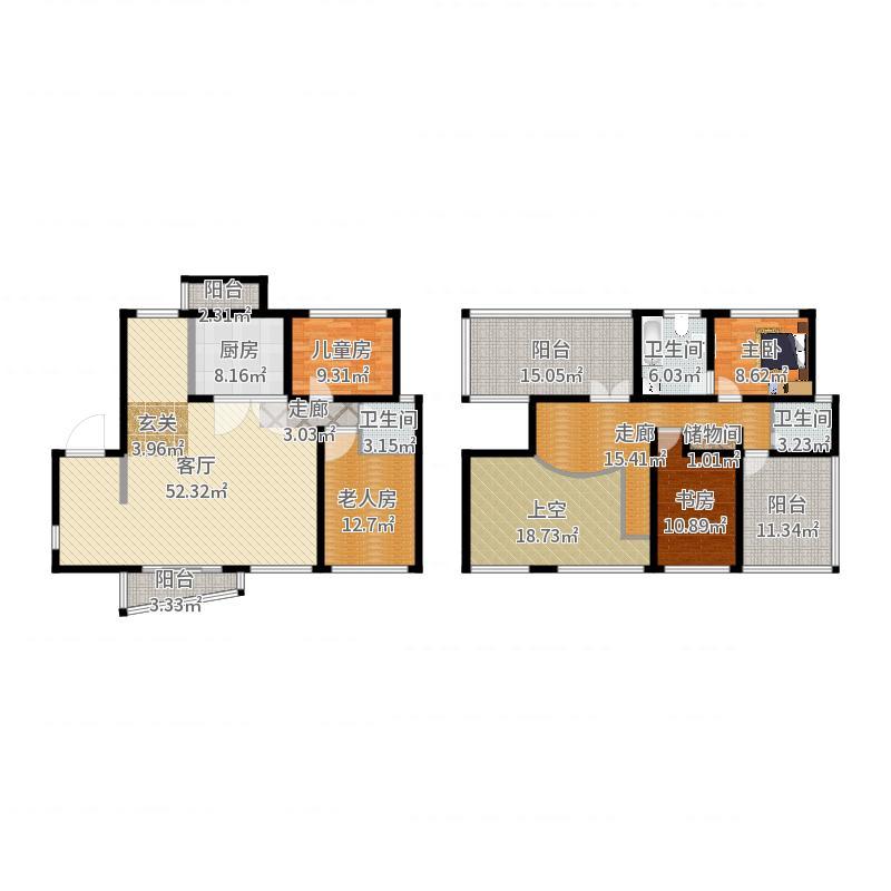 月泉湾名邸184.48㎡房型: 复式; 面积段: 184.48 -236.67 平方米;户型-副本户型图