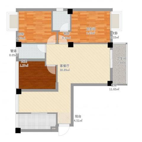 荣凯天阶3室2厅2卫1厨94.00㎡户型图