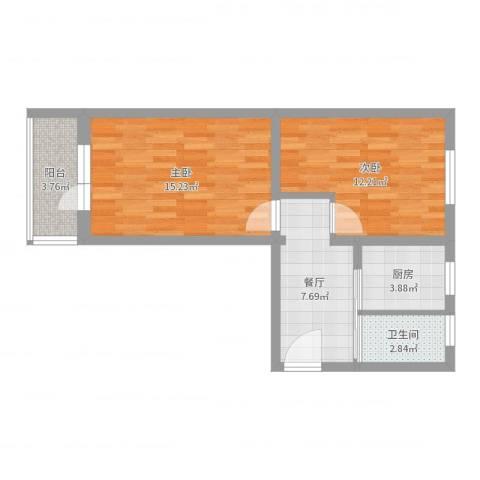 莲花池南里2室1厅1卫1厨57.00㎡户型图