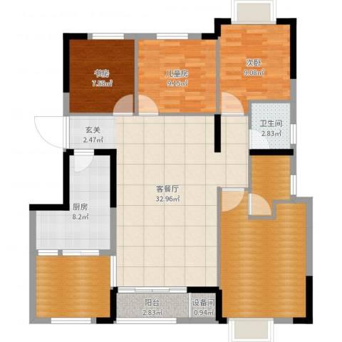 柏涟温莎名苑3室2厅1卫1厨124.00㎡户型图