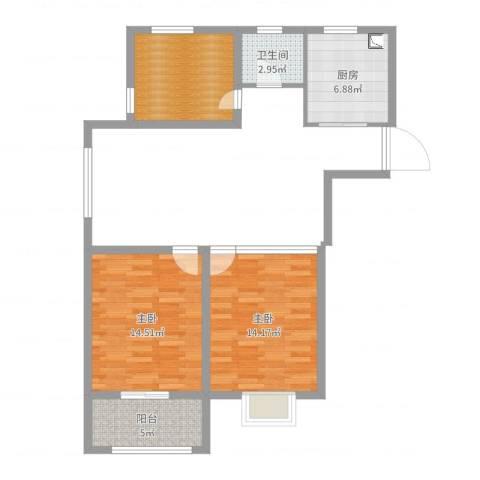 登达新天地2室0厅1卫1厨65.00㎡户型图