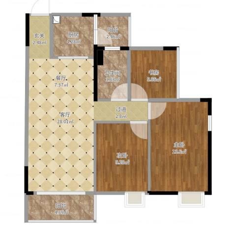 富盈都市华府3室1厅1卫1厨90.00㎡户型图