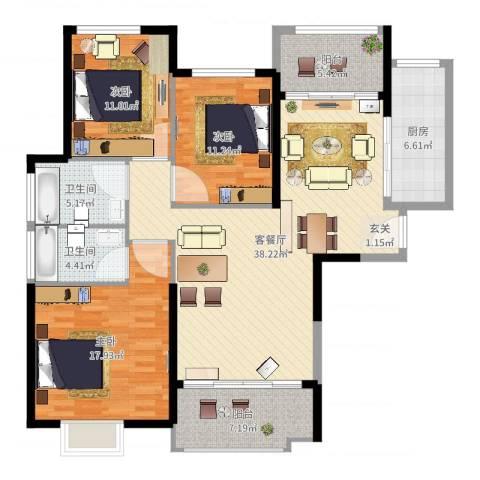 鹰潭恒大绿洲3室2厅2卫1厨134.00㎡户型图