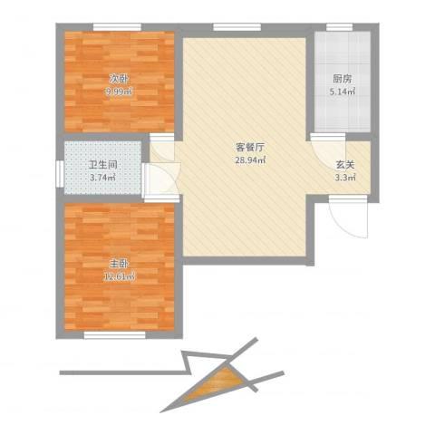 宏程华苑2室2厅1卫1厨76.00㎡户型图