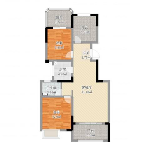金大地翡翠公馆2室2厅1卫1厨101.00㎡户型图
